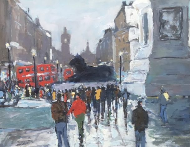 Across the Square, oil on board, 30 x 24.5cms