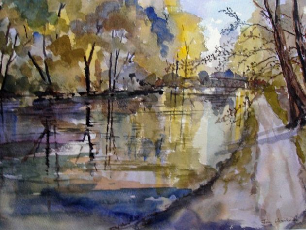 Bridge over the River Wey, watercolour, 33cm x 26cm