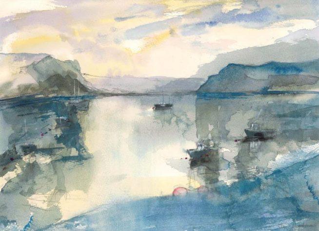 Portree Harbour, Skye, 16.5cm x 12.5cm, 23.4cm x 18cm, 34cm x 20cm