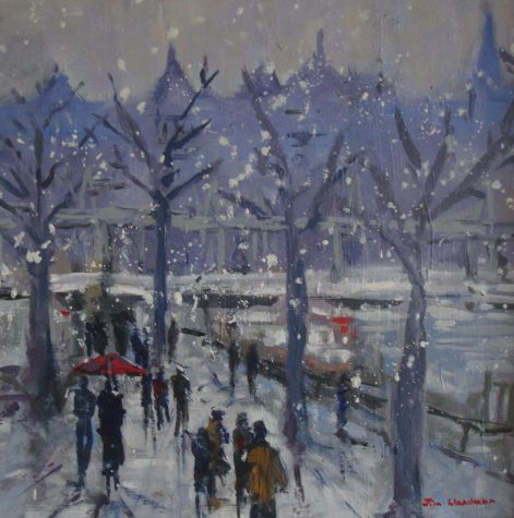 Snow on the South Bank, oil on board, 29cm x 29cm