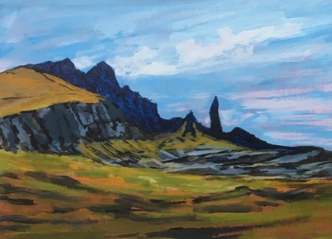 The Old Man of Storr, acrylic on board, 35 x 24.5cms