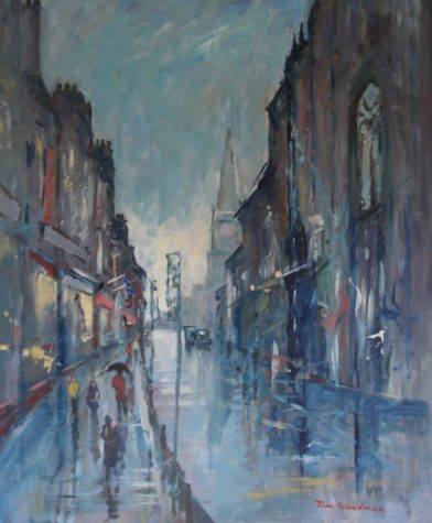 Wet Day on the Royal Mile, oil on board, 50cm x 60cm