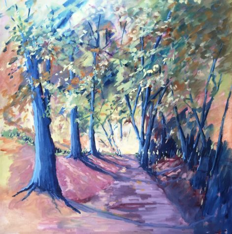 A Walk in the Woods. oil on board, 50cm x 50cm